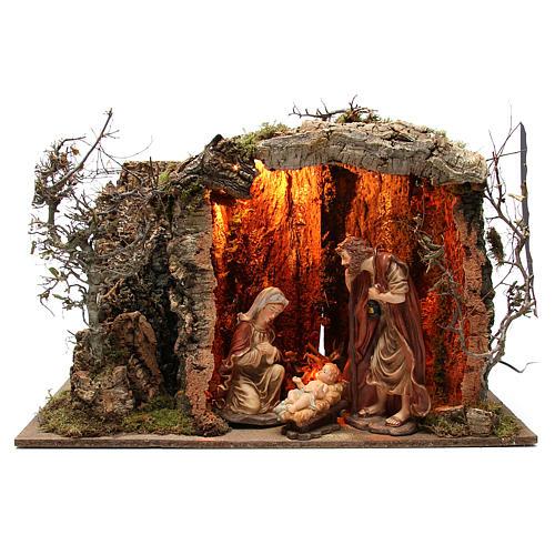 Cabane crèche illuminée avec santons 32 cm effet feu 55x76x40 cm 1