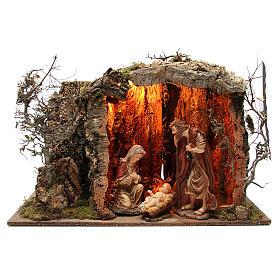 Capanna presepe illuminata con statue 32 cm e eff fuoco 55x76x40 s1