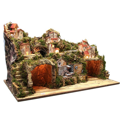Borgo presepe rustico con grotta mulino luci 50x80x50 cm 3