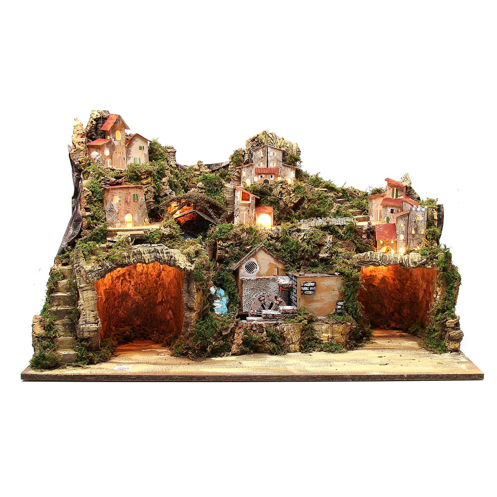 Osada szopka wiejska z grotą młynem światłem 50x80x50 cm 4