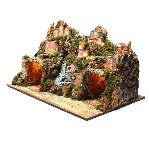 Osada szopka wiejska z grotą młynem światłem 50x80x50 cm 2