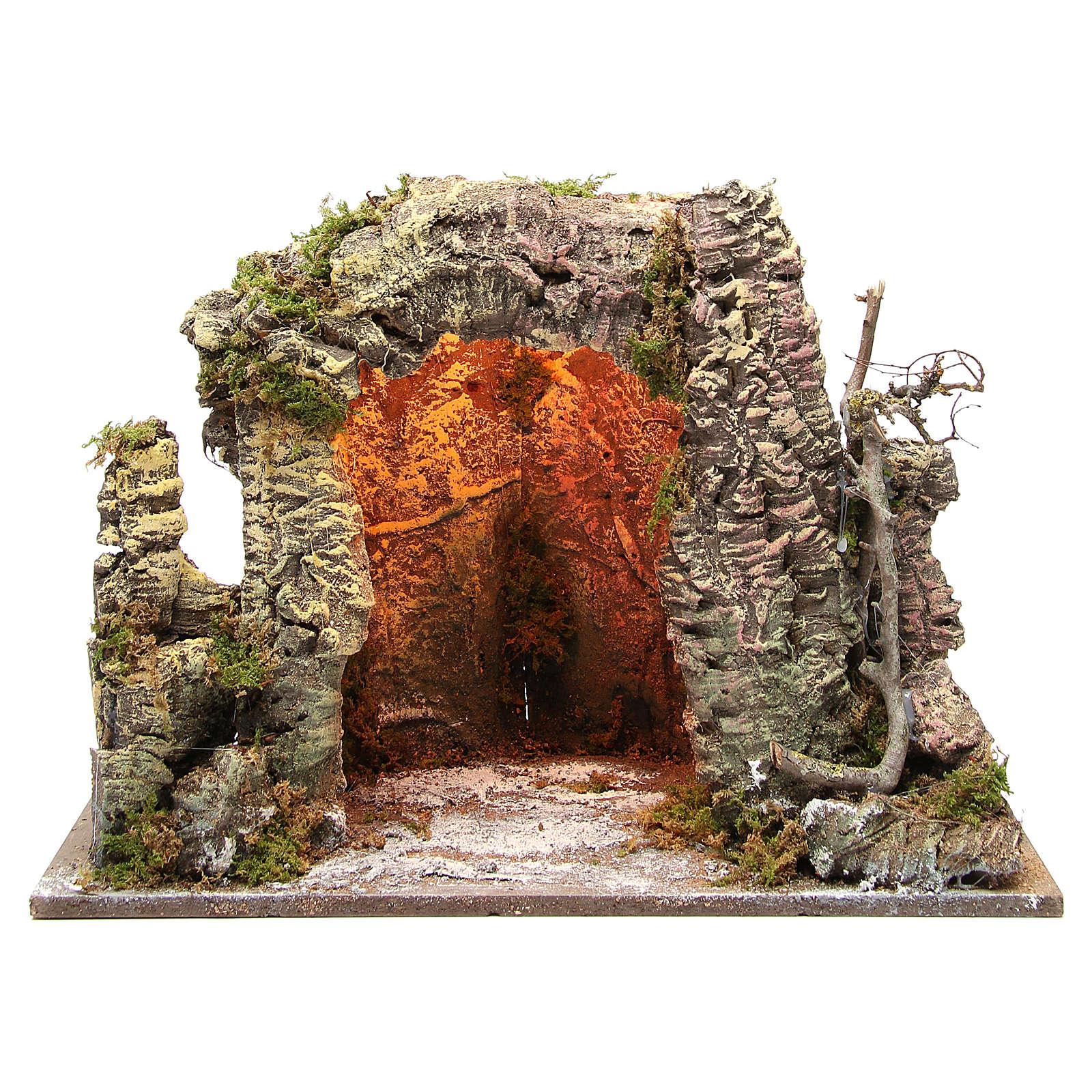 Grotte crèche illuminée 35x50x26 cm 4