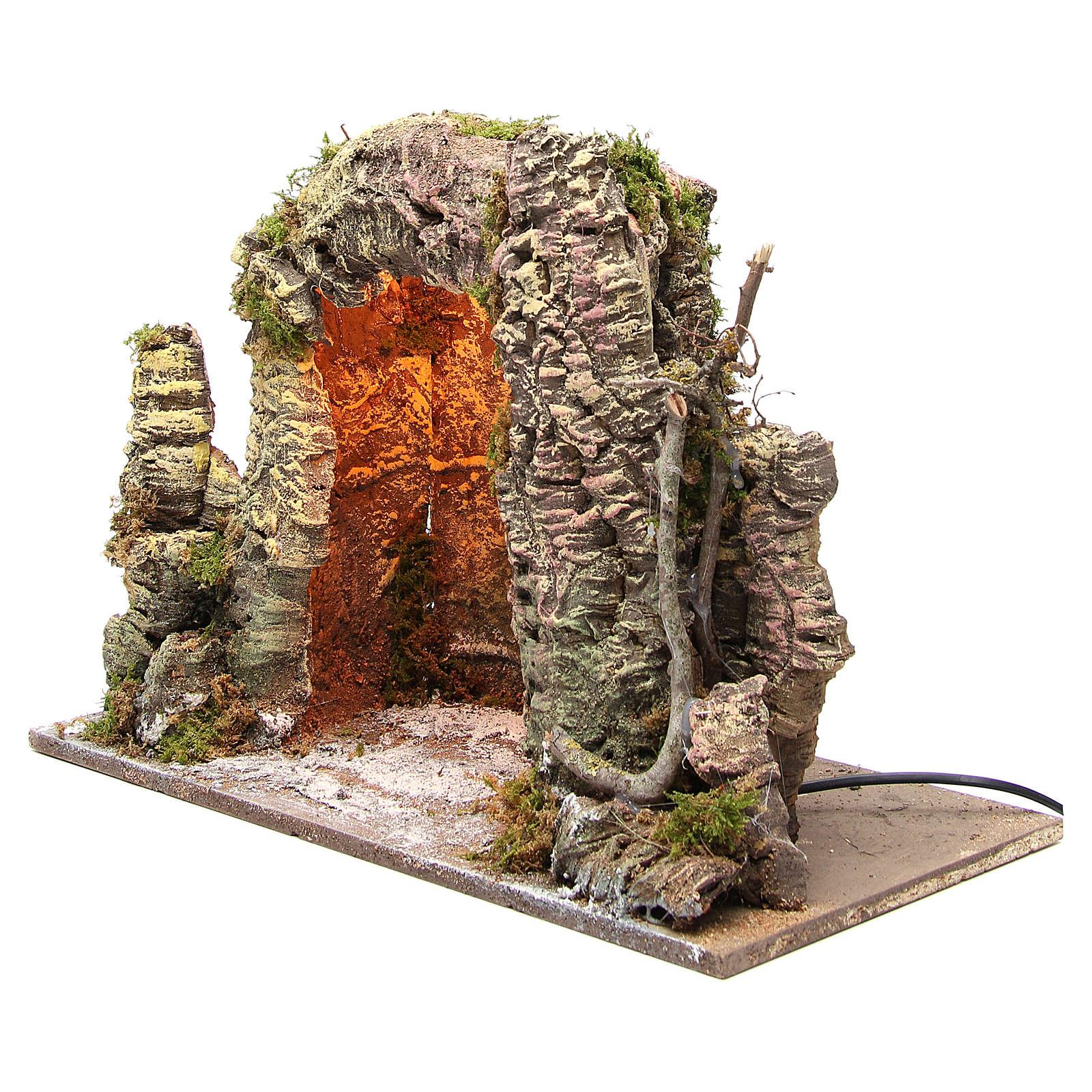 Grotta presepe illuminata 35x50x26 cm 4