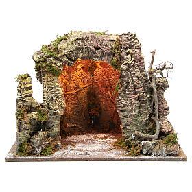 Grotta presepe illuminata 35x50x26 cm s1