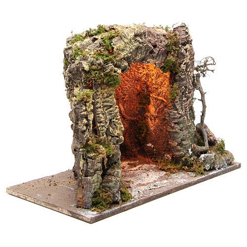 Grotta presepe illuminata 35x50x26 cm 3