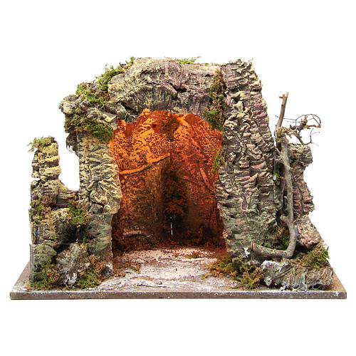Illuminated nativity grotto 35x50x26cm 1