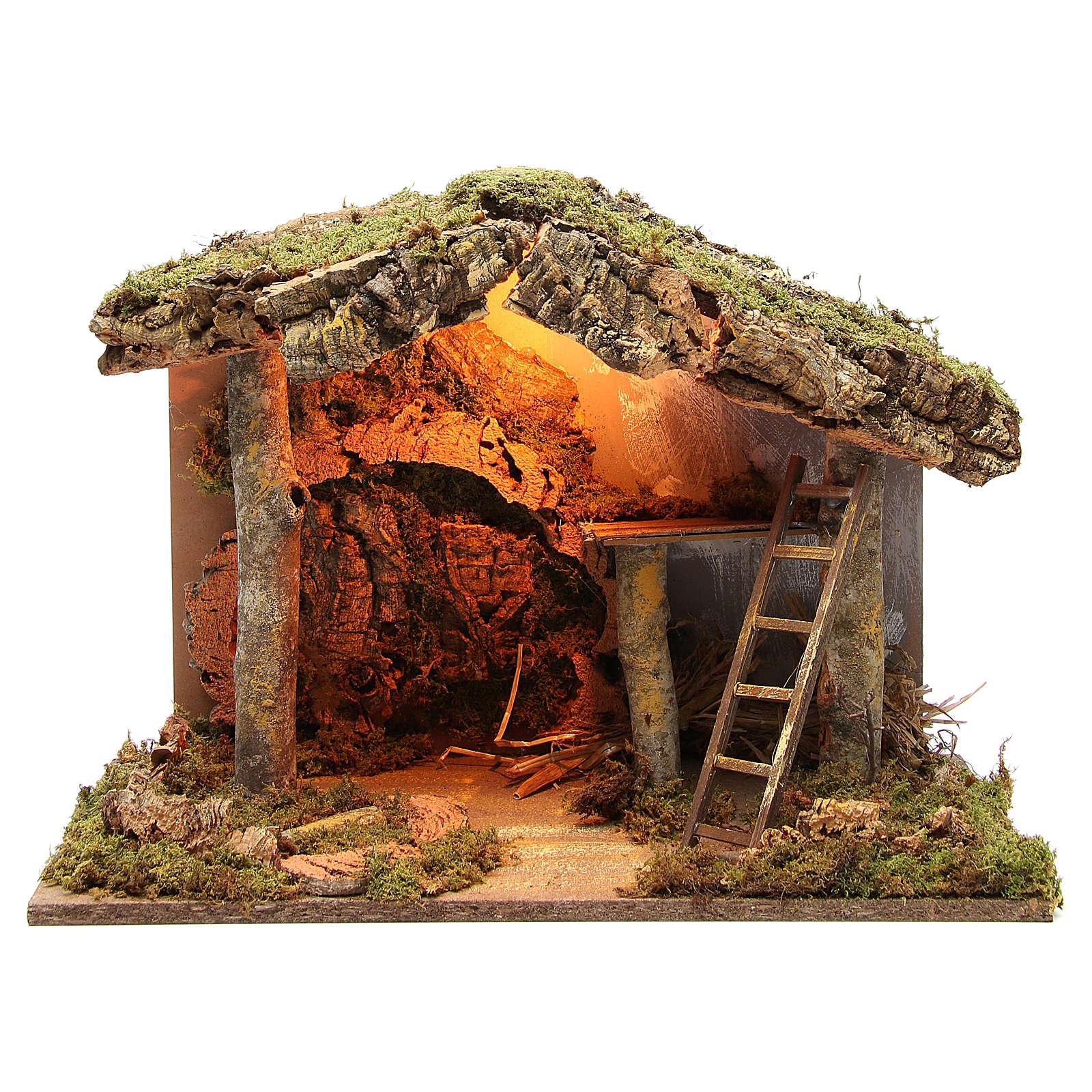 Cabane crèche illuminée avec escalier 36x50x26 cm 4
