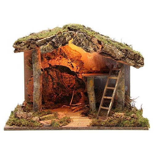 Cabane crèche illuminée avec escalier 36x50x26 cm 1