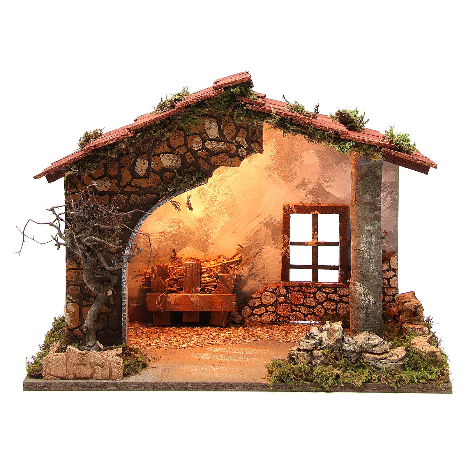 Illuminated nativity stable, rustic style 35x50x26cm 4