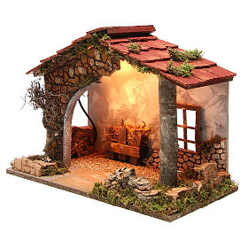 Illuminated nativity stable, rustic style 35x50x26cm s2