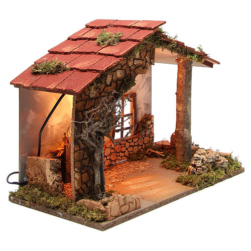 Illuminated nativity stable, rustic style 35x50x26cm 3
