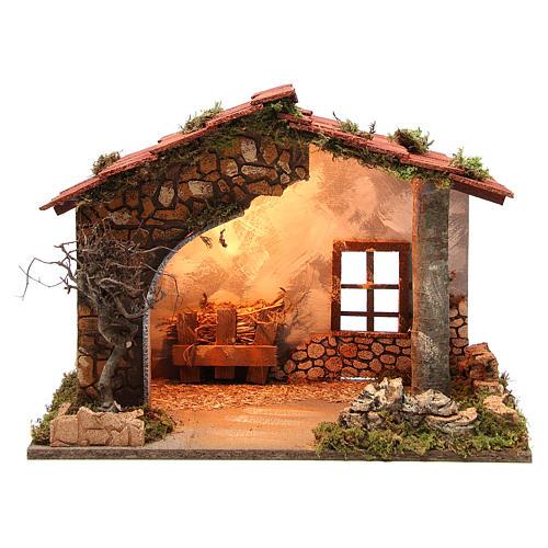 Cabane crèche rustique illuminée 35x50x26 cm 1