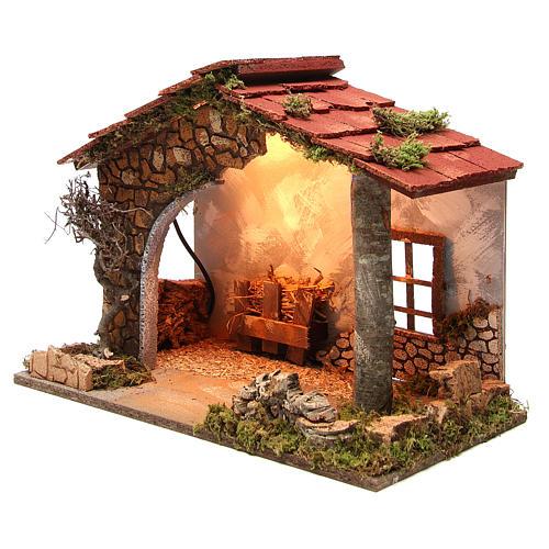 Cabane crèche rustique illuminée 35x50x26 cm 2