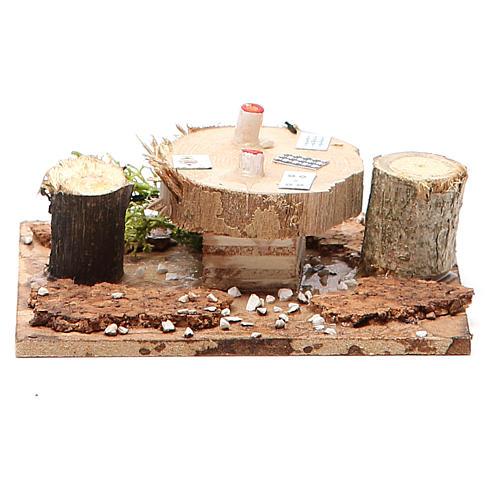 Tavolo in legno su base per presepe 2,5x9x9 cm modelli assortiti 2