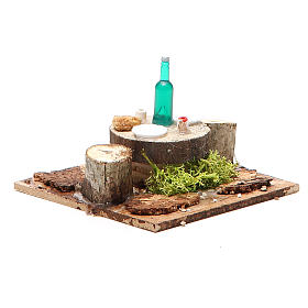 Wooden table with base for nativities measuring 2.5x9x9cm, assorted models s4