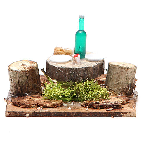 Wooden table with base for nativities measuring 2.5x9x9cm, assorted models 1