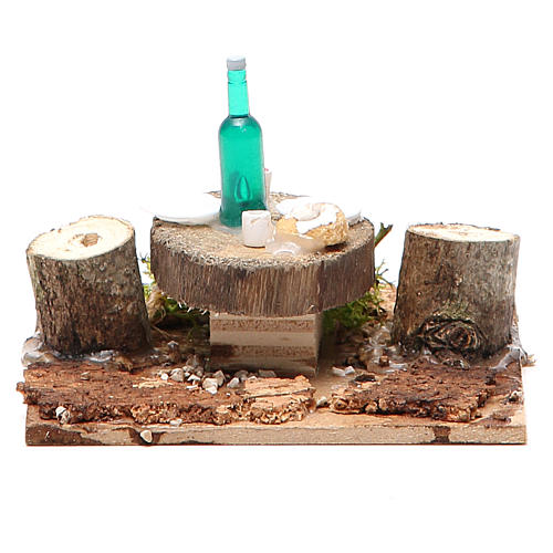 Wooden table with base for nativities measuring 2.5x9x9cm, assorted models 5