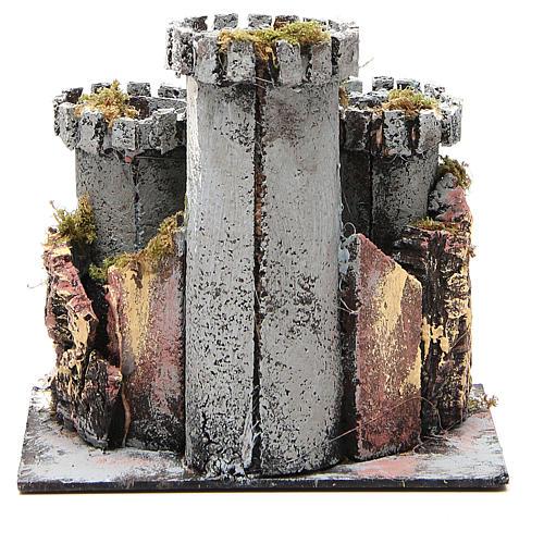 Castello presepe 3 torri 18x20x14 cm 4