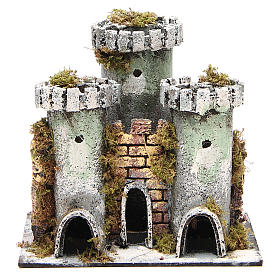 Castle with 3 towers for nativities measuring 18x20x14cm s1