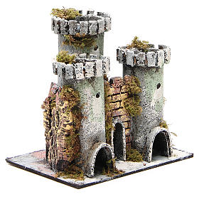 Castle with 3 towers for nativities measuring 18x20x14cm s3