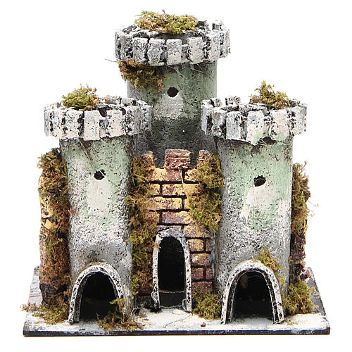 Castle with 3 towers for nativities measuring 18x20x14cm 1