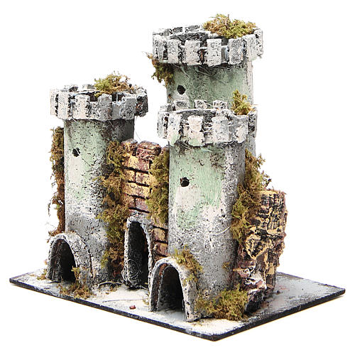 Castle with 3 towers for nativities measuring 18x20x14cm 2