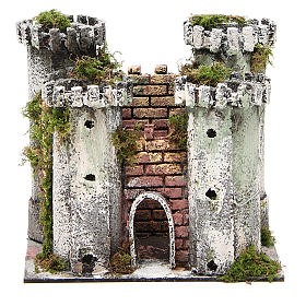 Castle with 4 towers for nativities measuring 18x20x14cm s1