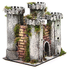 Castle with 4 towers for nativities measuring 18x20x14cm s3