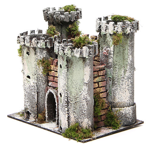 Castle with 4 towers for nativities measuring 18x20x14cm 2