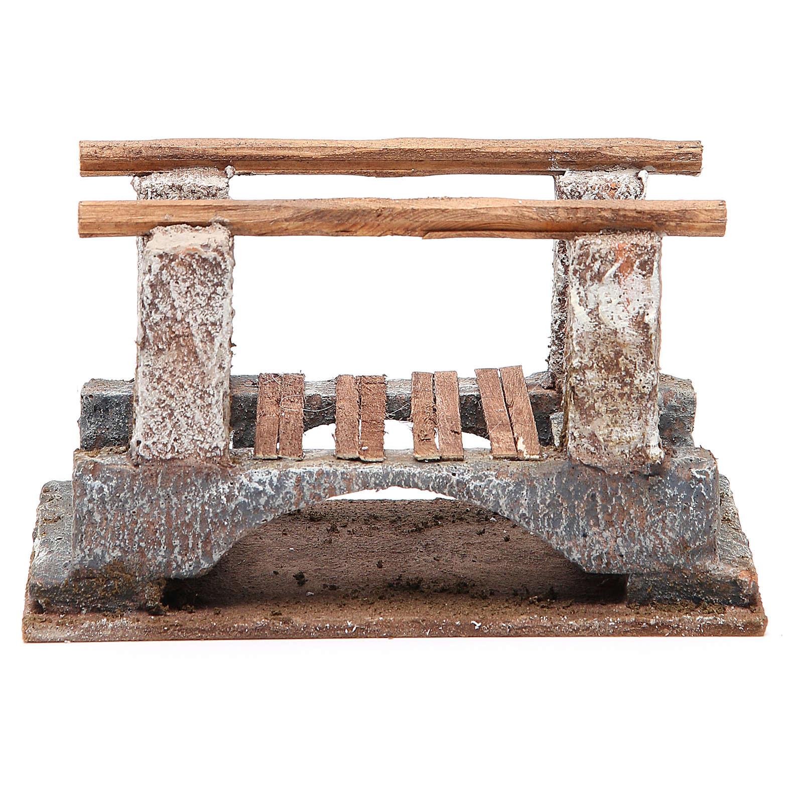 Ponte presepe con parapetto legno 10x18x11 presepe 12 cm 4