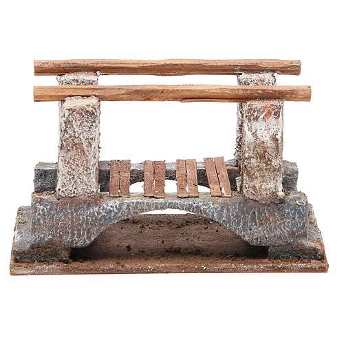 Ponte presepe con parapetto legno 10x18x11 presepe 12 cm 1