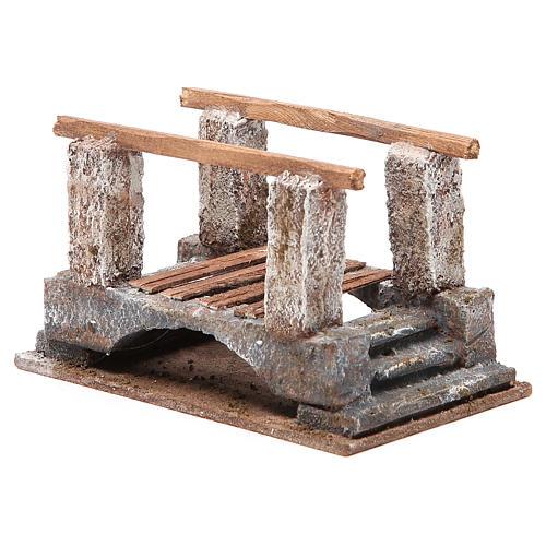 Ponte presepe con parapetto legno 10x18x11 presepe 12 cm 3
