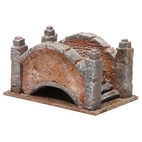 Arched Bridge for nativity with staircase 10x18x11cm 2