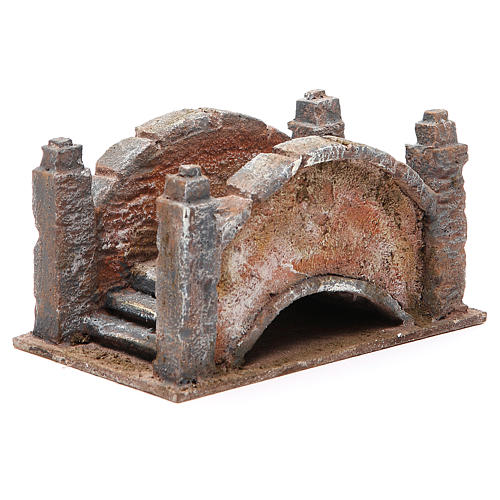 Arched Bridge for nativity with staircase 10x18x11cm 3