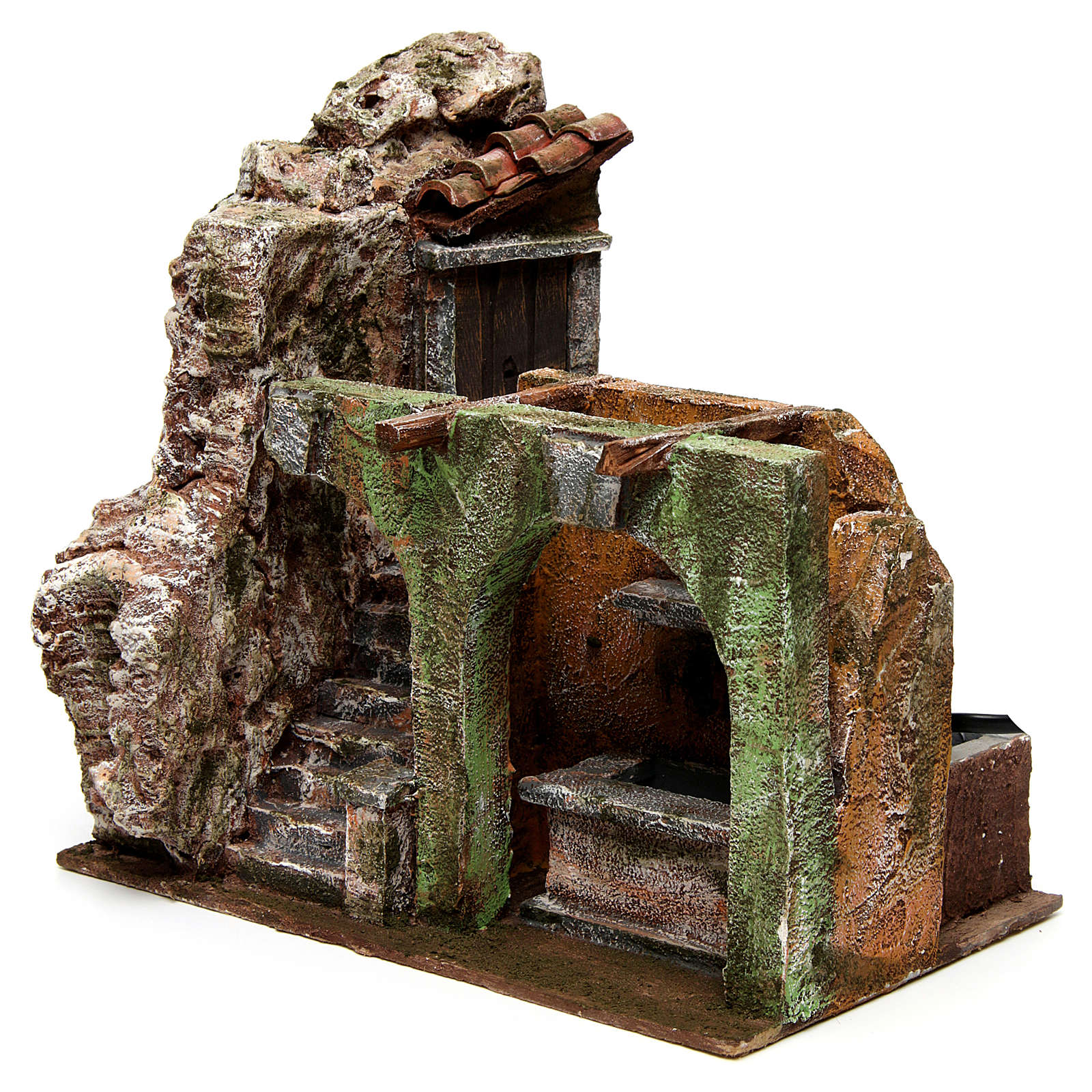 Electric fountain for nativity, double arch 23x25x15cm 4