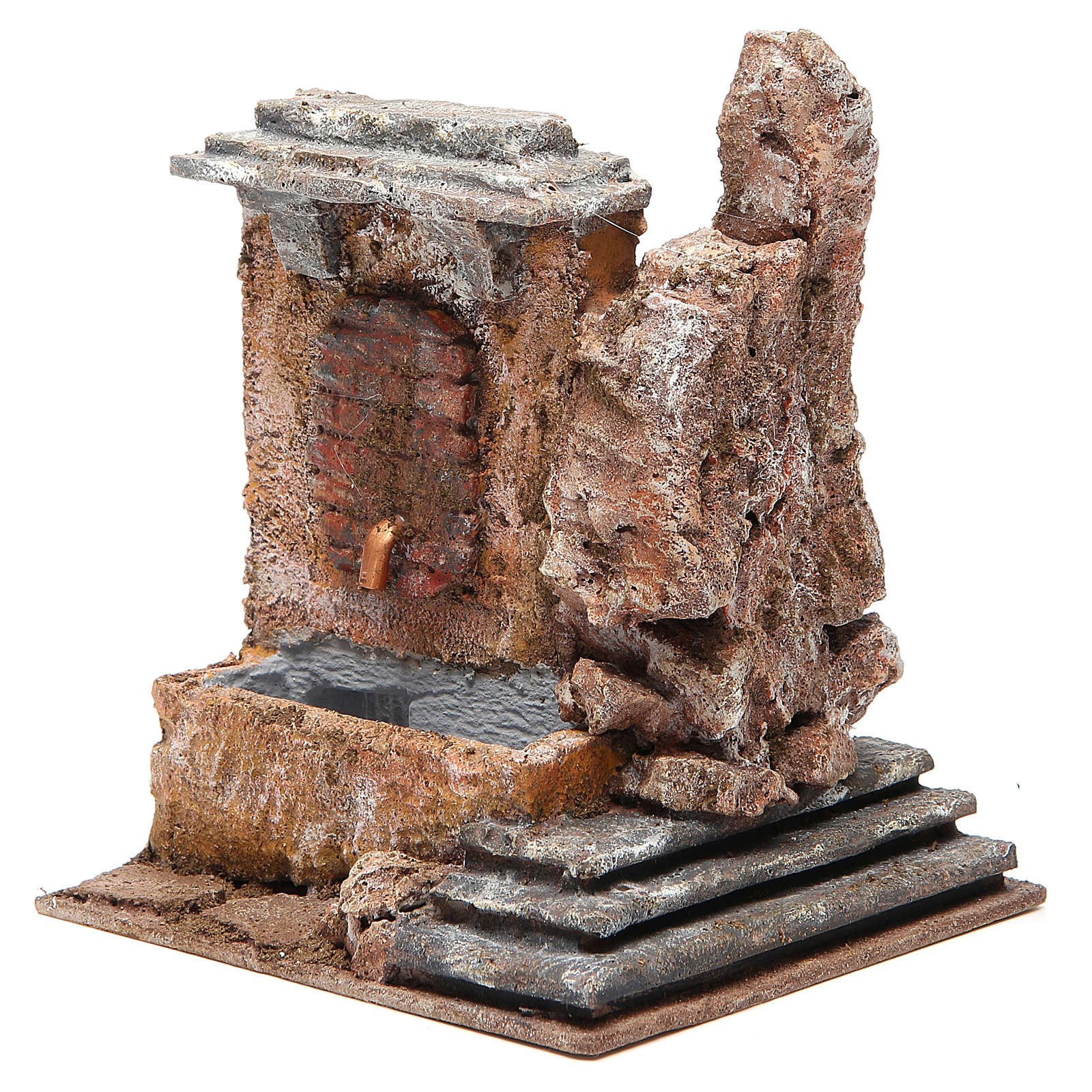 Electric fountain in rock for nativity 18x16x16cm 4