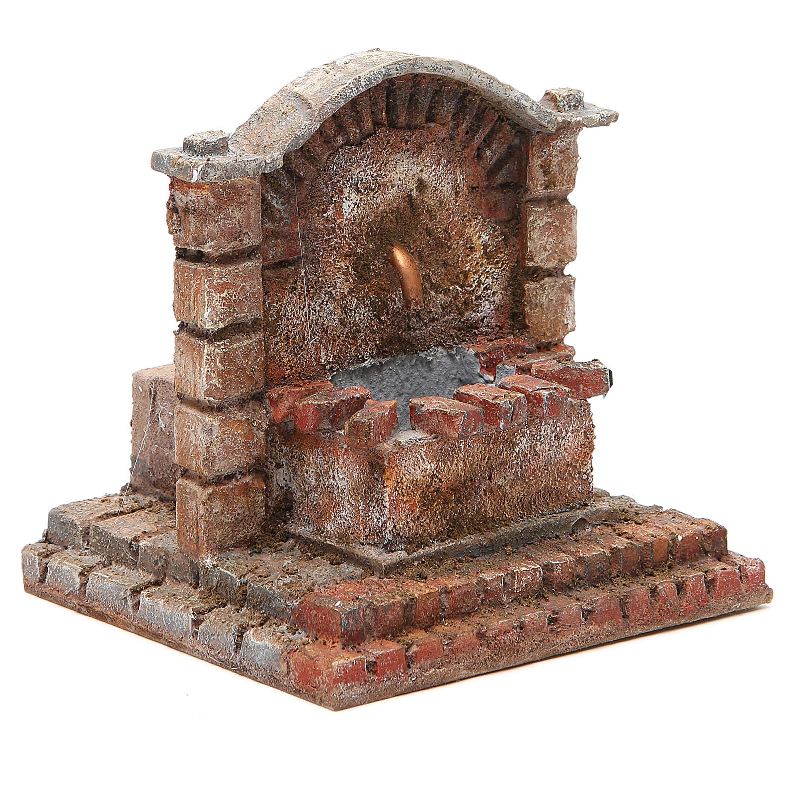 Antique electric Fountain for nativity 18x16x16cm 4