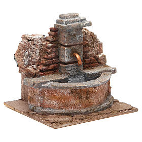 Electric Fountain nativity carved in rock 18x16x16cm s3