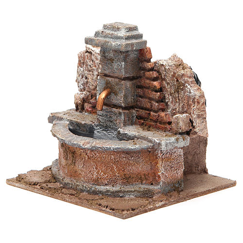 Electric Fountain nativity carved in rock 18x16x16cm 2