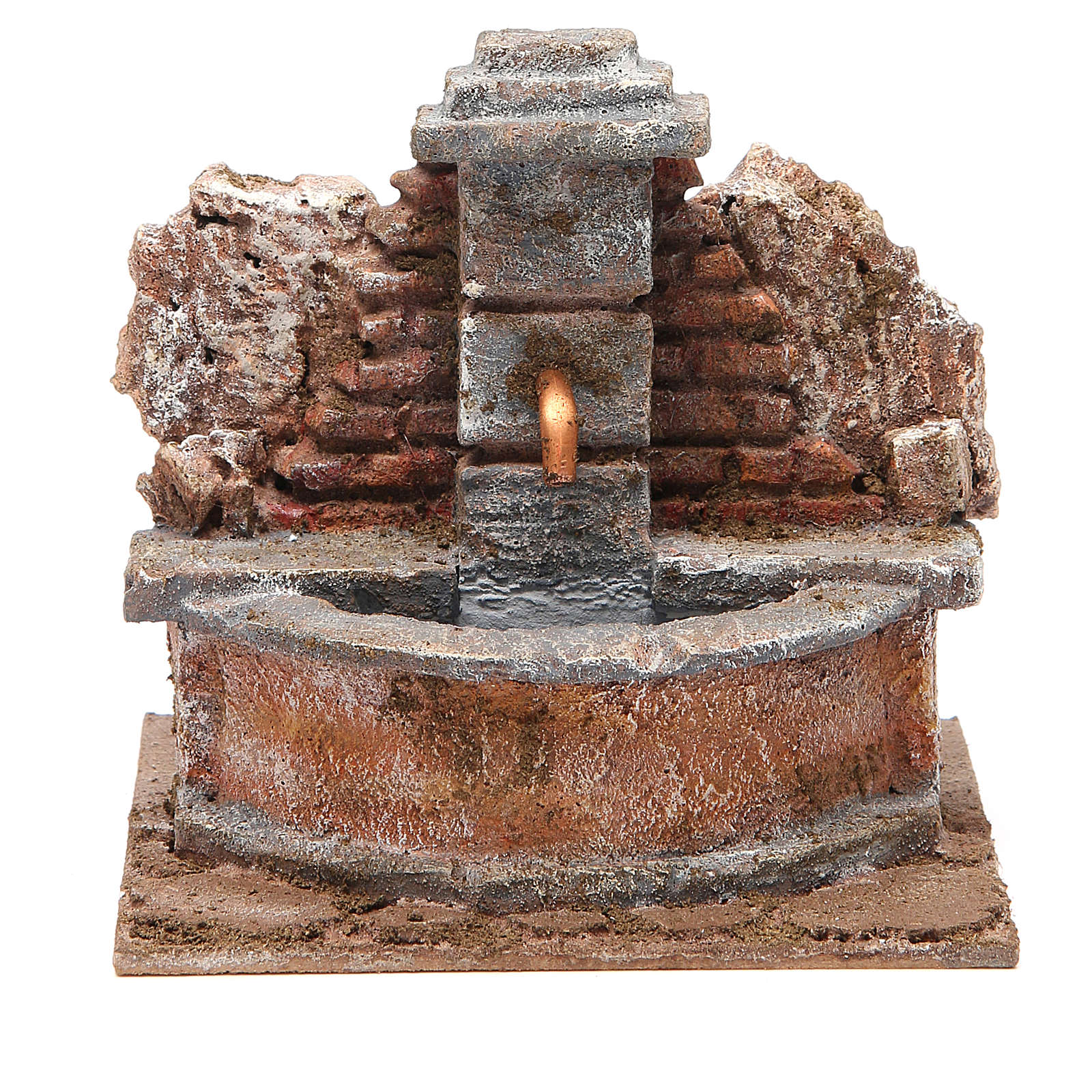 Electric Fountain nativity carved in rock 18x16x16cm 4
