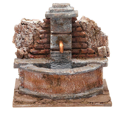 Electric Fountain nativity carved in rock 18x16x16cm 1