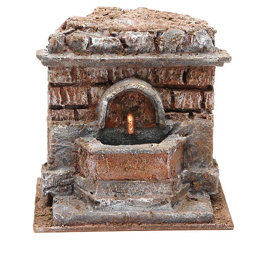Electric Fountain nativity with bricks 18x16x16cm 1