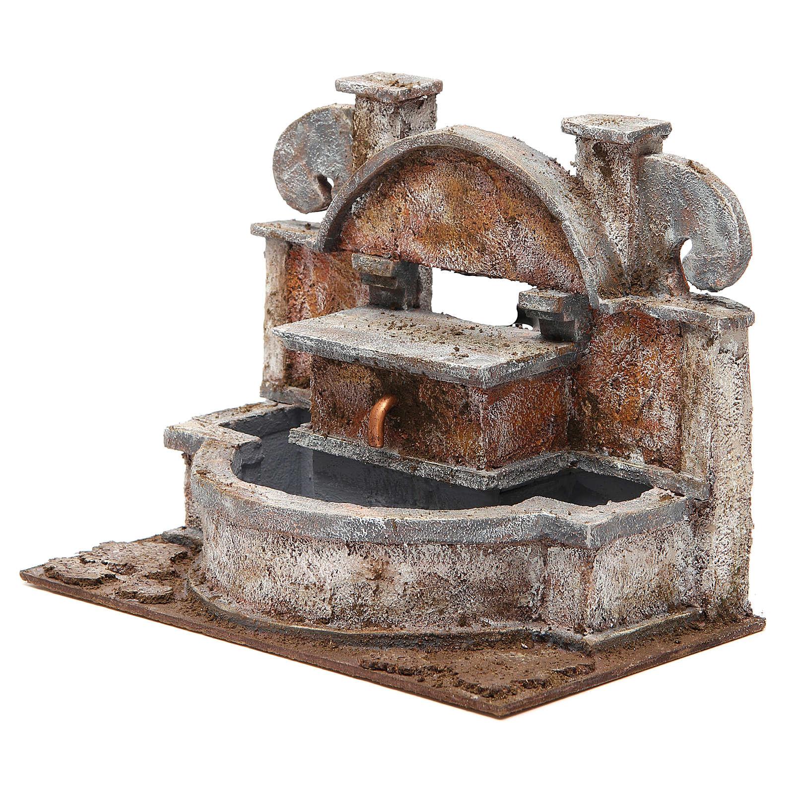 Fontana presepe rustica con grande vasca 20x25x15 cm 4