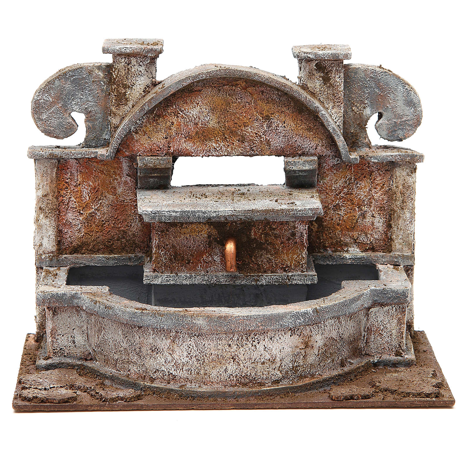 Rustic Fountain nativity with big basins 20x25x15cm 4