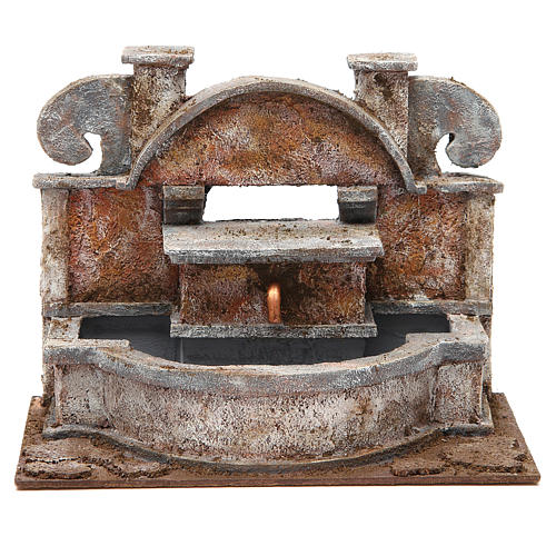 Rustic Fountain nativity with big basins 20x25x15cm 1