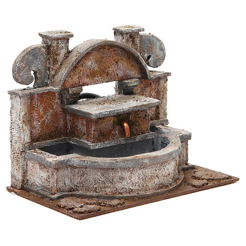 Rustic Fountain nativity with big basins 20x25x15cm 3