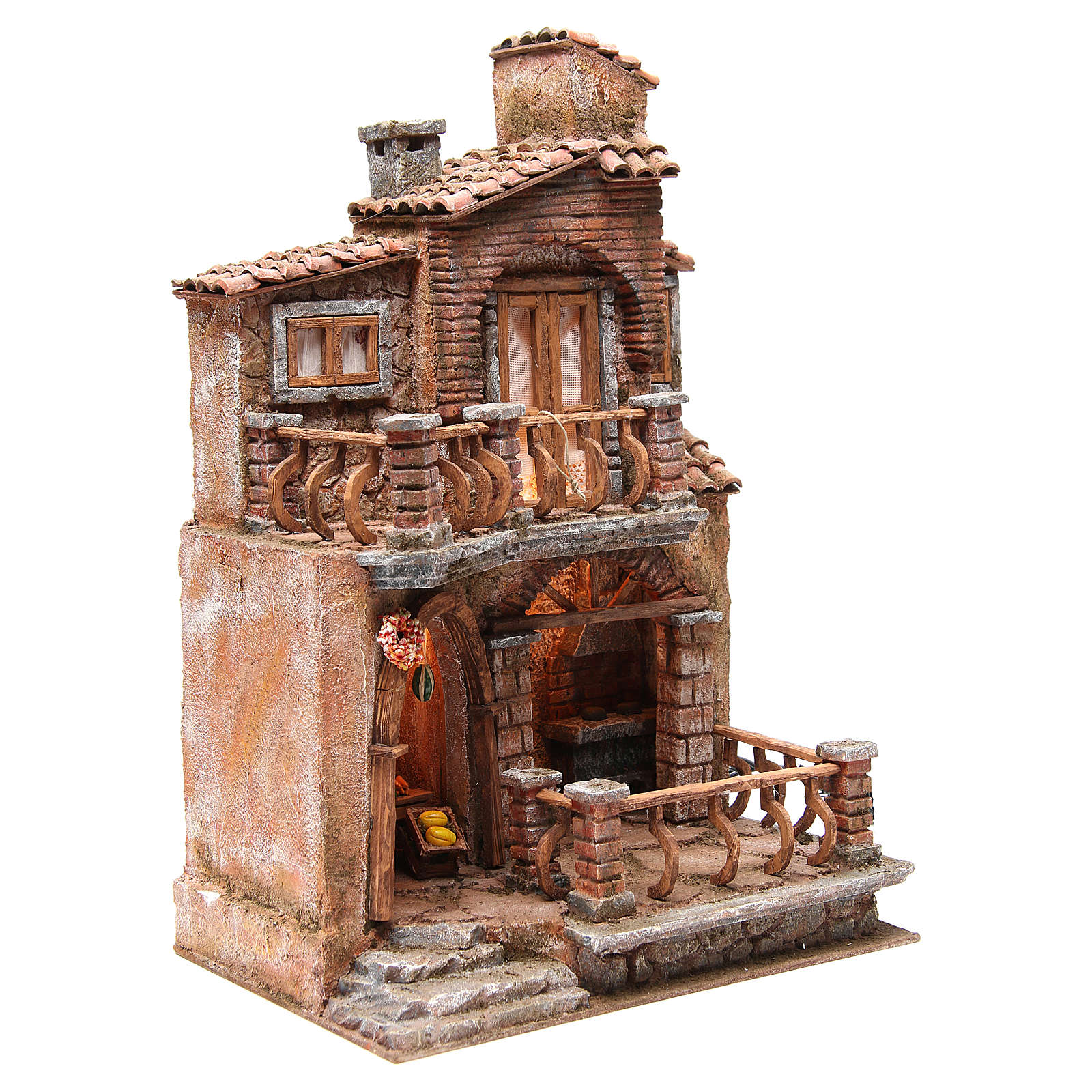 Hamlet with hut for nativity with accessories 40x30x20cm 4