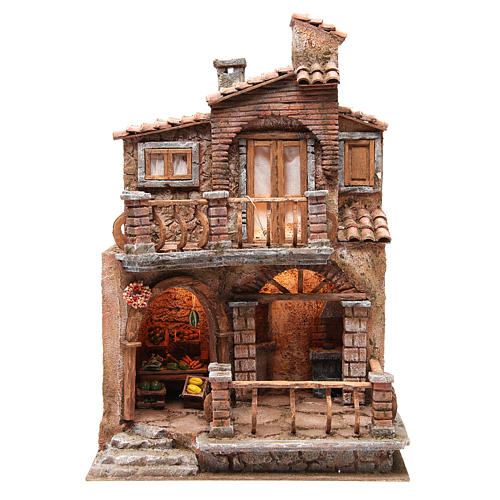 Hamlet with hut for nativity with accessories 40x30x20cm 1