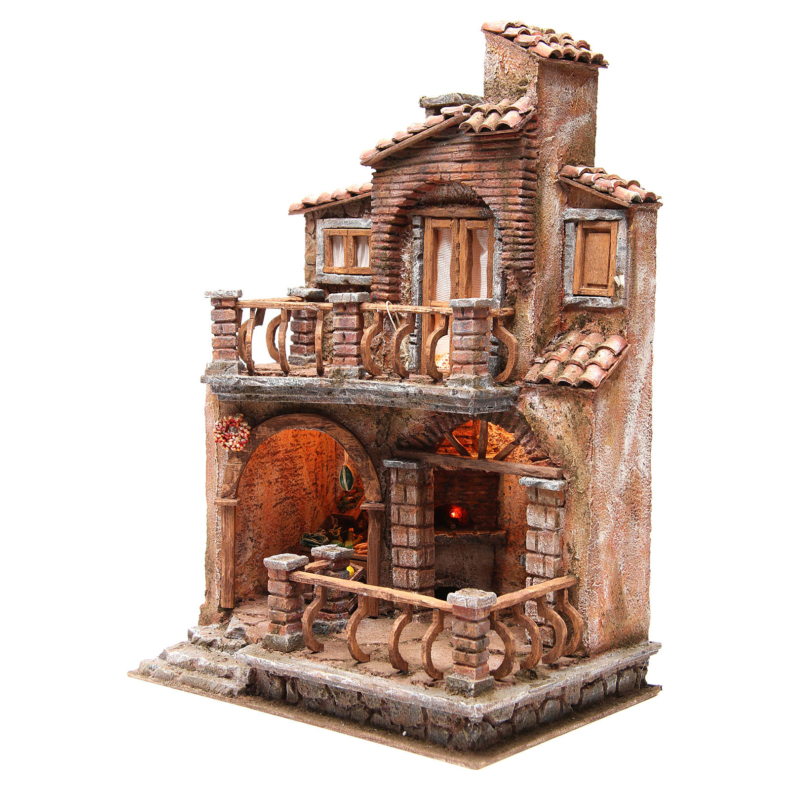 Borgo con capanna presepe con accessori 40x30x20 cm 4
