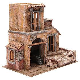 Casa con cabaña para belén 35x38x25 cm s3